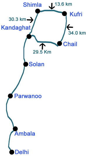 Route Map Resort In Chail Hotels In Chail - Map route distance